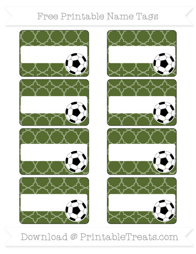 Free Dark Olive Green Quatrefoil Pattern Soccer Name Tags