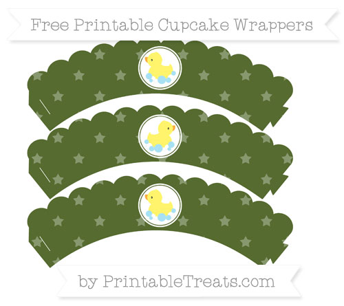 Free Dark Olive Green Star Pattern Baby Duck Scalloped Cupcake Wrappers