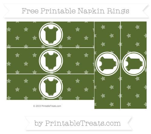 Free Dark Olive Green Star Pattern Baby Onesie Napkin Rings