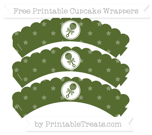 Free Dark Olive Green Star Pattern Baby Rattle Scalloped Cupcake Wrappers