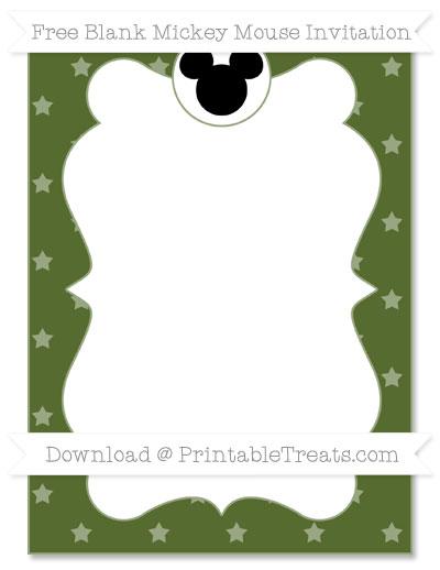 Free Dark Olive Green Star Pattern Blank Mickey Mouse Invitation