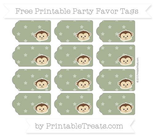 Free Dark Olive Green Star Pattern Boy Monkey Party Favor Tags