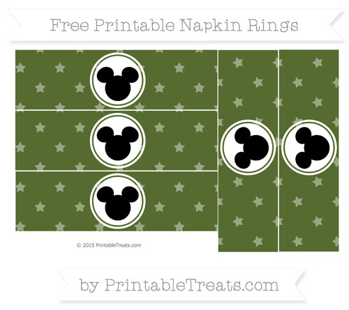 Free Dark Olive Green Star Pattern Mickey Mouse Napkin Rings
