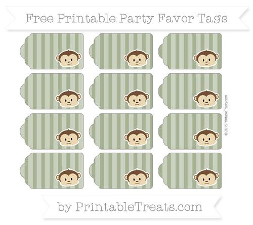 Free Dark Olive Green Striped Boy Monkey Party Favor Tags