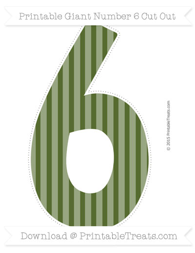 Free Dark Olive Green Striped Giant Number 6 Cut Out