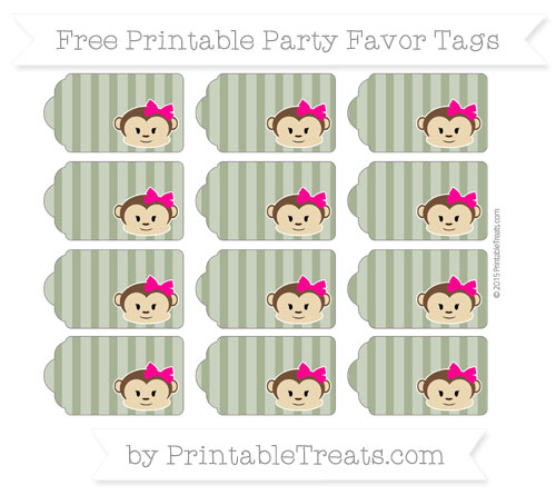 Free Dark Olive Green Striped Girl Monkey Party Favor Tags