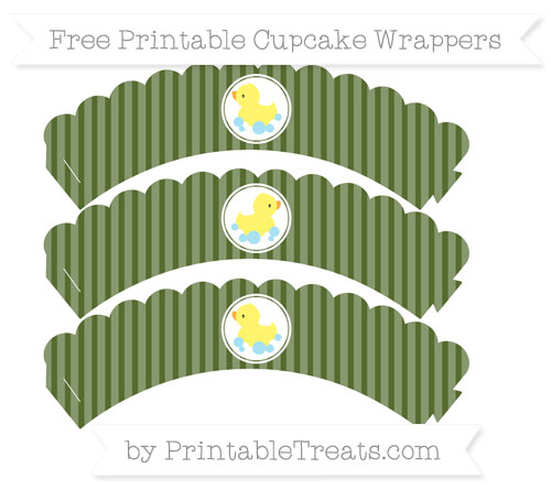 Free Dark Olive Green Thin Striped Pattern Baby Duck Scalloped Cupcake Wrappers