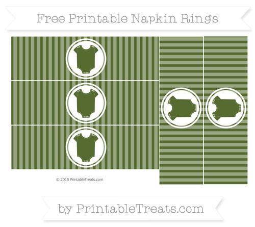 Free Dark Olive Green Thin Striped Pattern Baby Onesie Napkin Rings