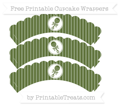 Free Dark Olive Green Thin Striped Pattern Baby Rattle Scalloped Cupcake Wrappers
