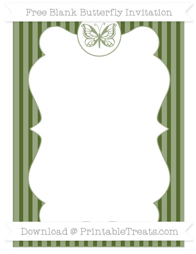 Free Dark Olive Green Thin Striped Pattern Blank Butterfly Invitation