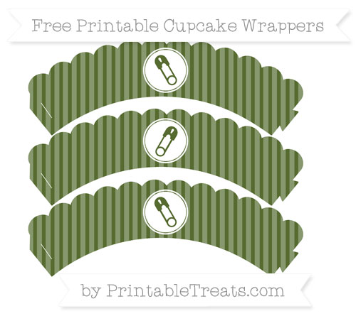 Free Dark Olive Green Thin Striped Pattern Diaper Pin Scalloped Cupcake Wrappers