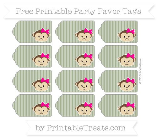 Free Dark Olive Green Thin Striped Pattern Girl Monkey Party Favor Tags