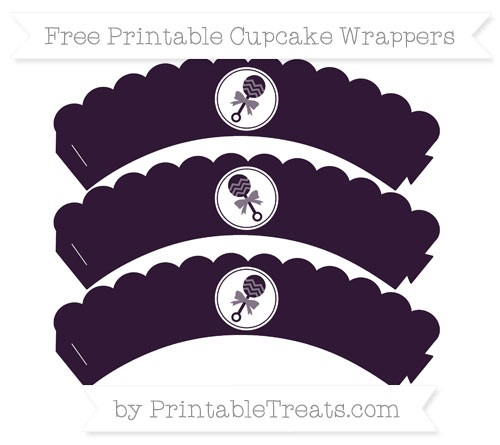 Free Dark Purple Baby Rattle Scalloped Cupcake Wrappers