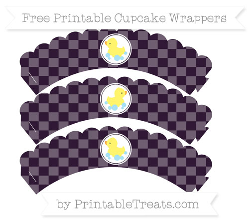 Free Dark Purple Checker Pattern Baby Duck Scalloped Cupcake Wrappers