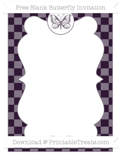 Free Dark Purple Checker Pattern Blank Butterfly Invitation