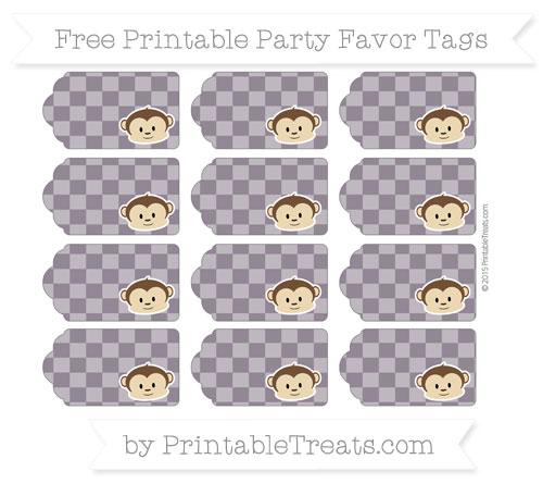 Free Dark Purple Checker Pattern Boy Monkey Party Favor Tags