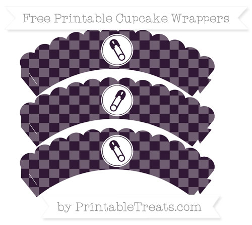Free Dark Purple Checker Pattern Diaper Pin Scalloped Cupcake Wrappers