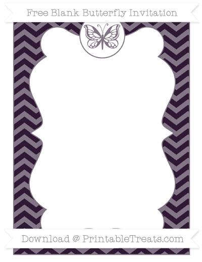 Free Dark Purple Chevron Blank Butterfly Invitation
