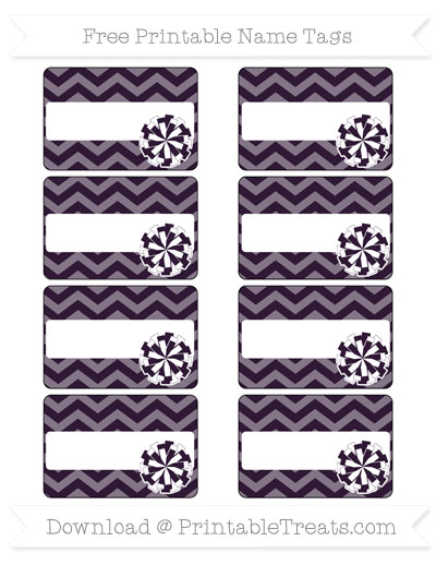 Free Dark Purple Chevron Cheer Pom Pom Tags