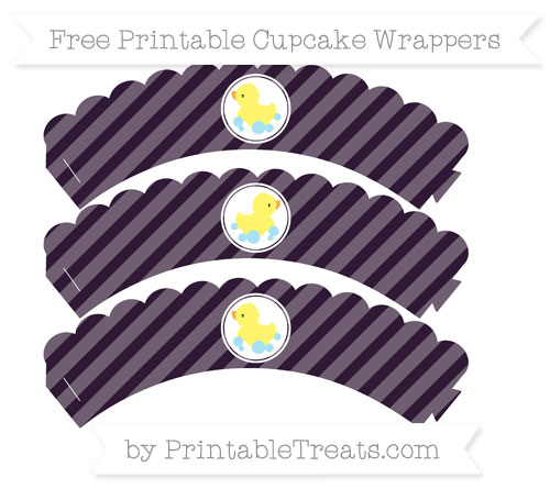 Free Dark Purple Diagonal Striped Baby Duck Scalloped Cupcake Wrappers