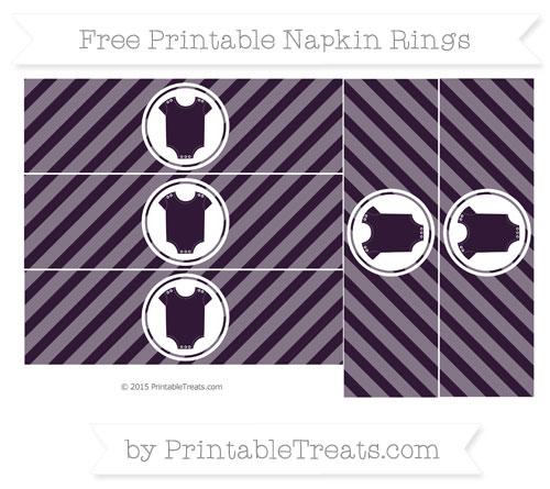 Free Dark Purple Diagonal Striped Baby Onesie Napkin Rings