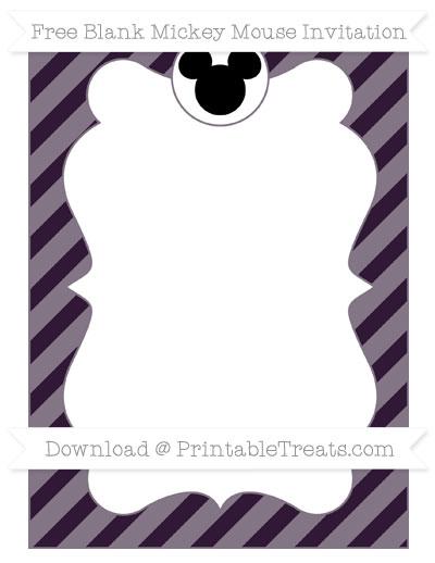 Free Dark Purple Diagonal Striped Blank Mickey Mouse Invitation