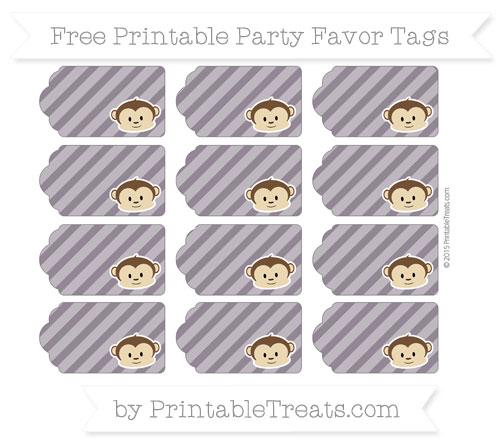 Free Dark Purple Diagonal Striped Boy Monkey Party Favor Tags