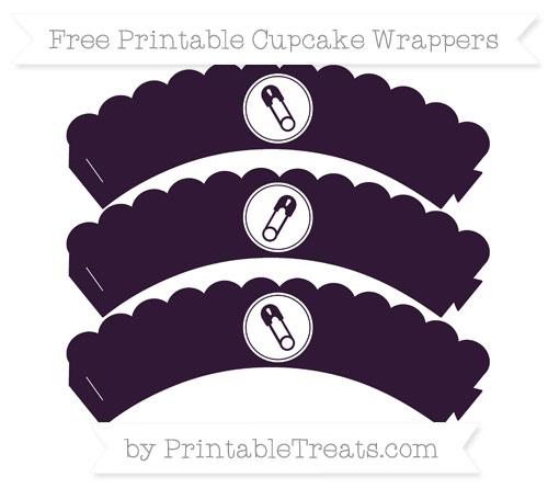 Free Dark Purple Diaper Pin Scalloped Cupcake Wrappers