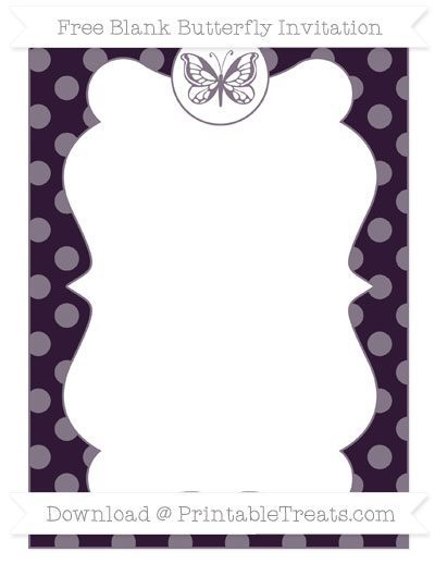 Free Dark Purple Dotted Pattern Blank Butterfly Invitation