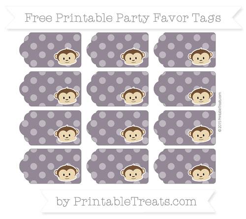 Free Dark Purple Dotted Pattern Boy Monkey Party Favor Tags