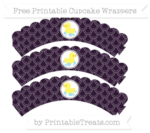 Free Dark Purple Fish Scale Pattern Baby Duck Scalloped Cupcake Wrappers