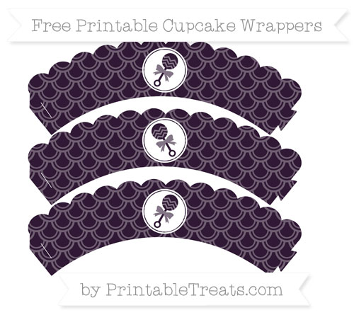 Free Dark Purple Fish Scale Pattern Baby Rattle Scalloped Cupcake Wrappers