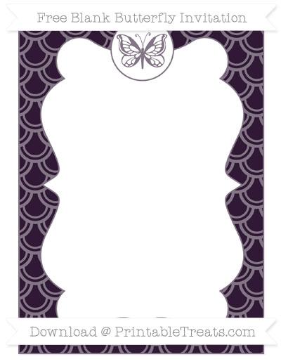 Free Dark Purple Fish Scale Pattern Blank Butterfly Invitation