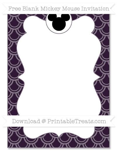 Free Dark Purple Fish Scale Pattern Blank Mickey Mouse Invitation