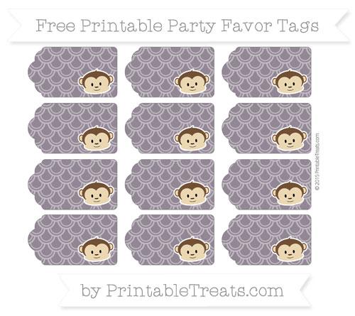 Free Dark Purple Fish Scale Pattern Boy Monkey Party Favor Tags