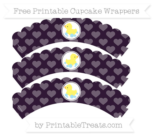 Free Dark Purple Heart Pattern Baby Duck Scalloped Cupcake Wrappers
