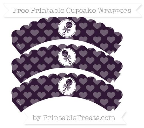 Free Dark Purple Heart Pattern Baby Rattle Scalloped Cupcake Wrappers