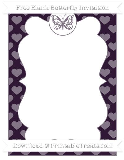 Free Dark Purple Heart Pattern Blank Butterfly Invitation