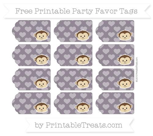 Free Dark Purple Heart Pattern Boy Monkey Party Favor Tags