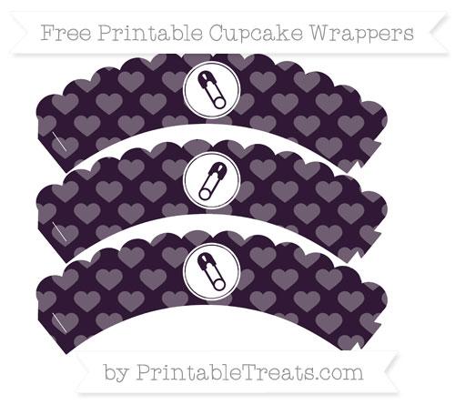 Free Dark Purple Heart Pattern Diaper Pin Scalloped Cupcake Wrappers