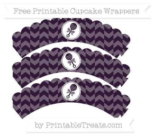 Free Dark Purple Herringbone Pattern Baby Rattle Scalloped Cupcake Wrappers