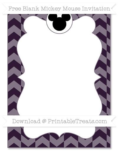 Free Dark Purple Herringbone Pattern Blank Mickey Mouse Invitation