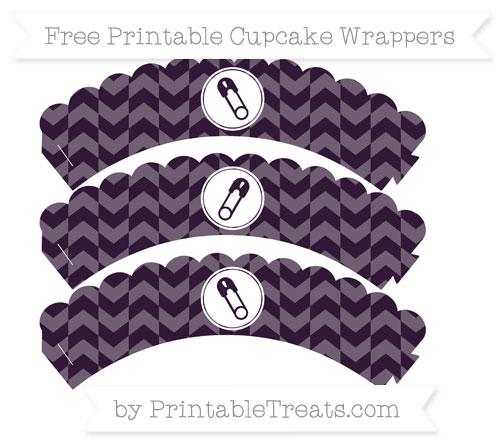 Free Dark Purple Herringbone Pattern Diaper Pin Scalloped Cupcake Wrappers