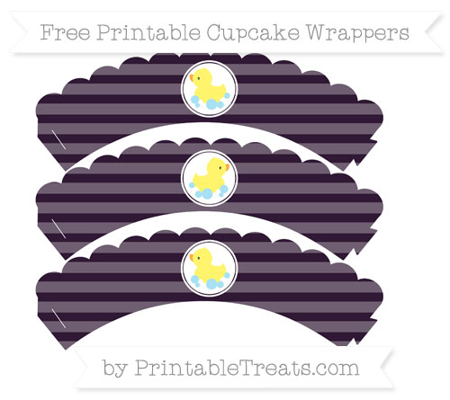 Free Dark Purple Horizontal Striped Baby Duck Scalloped Cupcake Wrappers