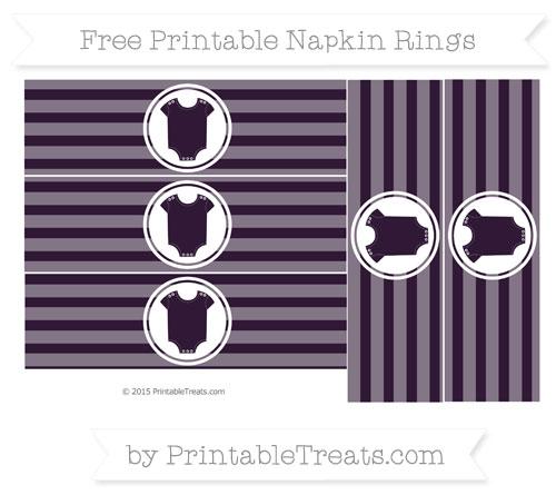 Free Dark Purple Horizontal Striped Baby Onesie Napkin Rings