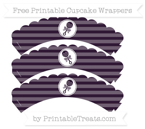 Free Dark Purple Horizontal Striped Baby Rattle Scalloped Cupcake Wrappers