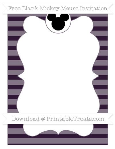 Free Dark Purple Horizontal Striped Blank Mickey Mouse Invitation