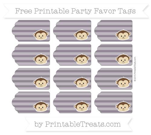 Free Dark Purple Horizontal Striped Boy Monkey Party Favor Tags