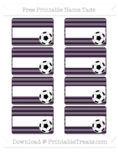 Free Dark Purple Horizontal Striped Soccer Name Tags