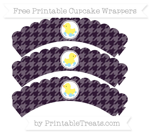Free Dark Purple Houndstooth Pattern Baby Duck Scalloped Cupcake Wrappers